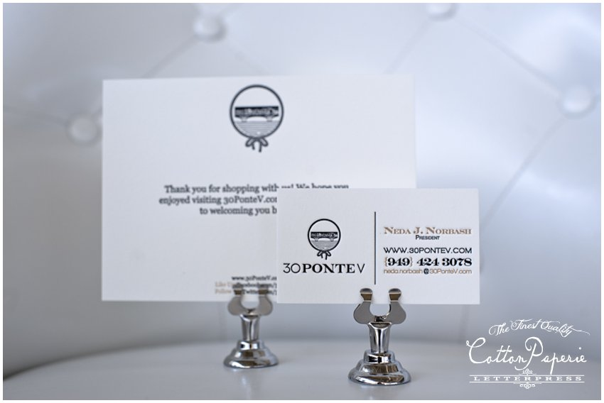 one color letterpress business cards on pearl white crane lettra