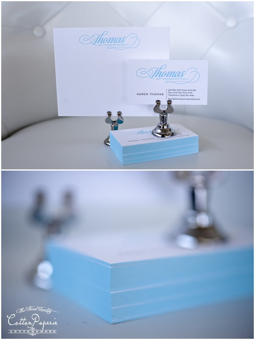 two color letterpress business cards on fluorescent white crane lettra and blue edge paint