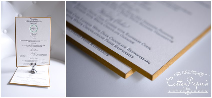 cottonpaperie letterpress invitation with beveled and gilded edges
